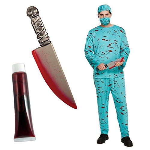 (Blutiger Chirurg-Doktor der Halloween-Männer Halloween-Horror-Kostüm-Bündel mit Blutigem Messer Eine Größe passt am meisten)