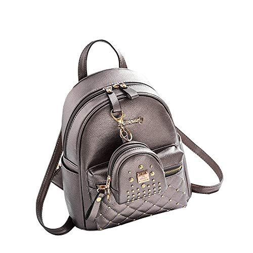 Mini Balabala Borsa a tracolla messenger ragazze zaino PU in pelle borse scuola zainetto carino bookbag borsa con piccolo portafogli grigio