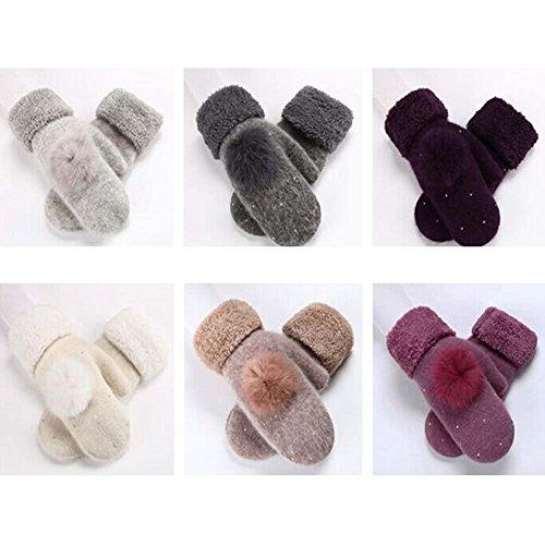 Woollen Gants d'hiver Femmes Mitaines Violet clair