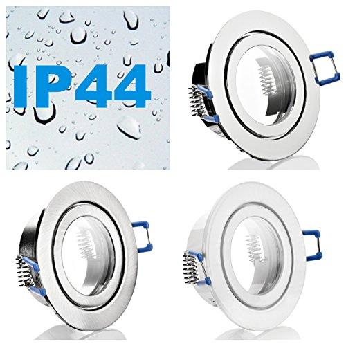 IP44 Alu- Feuchtraum Badezimmer Einbaustrahler Einbaufassung Terrassenüberdachung Beleuchtung Klickverschluß Spritzwassergeschützt geeignet für MR16/GU10 LED/Halogen 12V/230V Inkl. GU5.3/MR16 Fassung