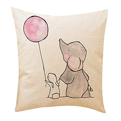 2019 nuovo moda carino piccolo elefante cuscini decorativi divano lino seggiolino auto copertura cuscino chiusura a cerniera nascosta 45cm×45cm/ 18 × 18 pollici by wudube