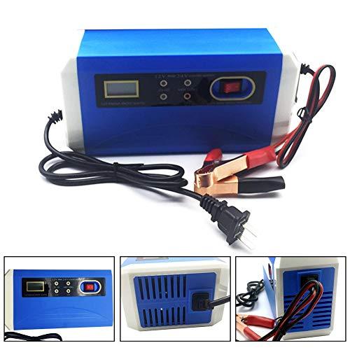 likeitwell Caricabatteria per Auto 12V24V, Universal AC110-250V per DC 20AH~200AH 140W Automatico Intelligente Caricabatteria per Auto Full Automatic-Protect Caricatore Rapido EU Plug...