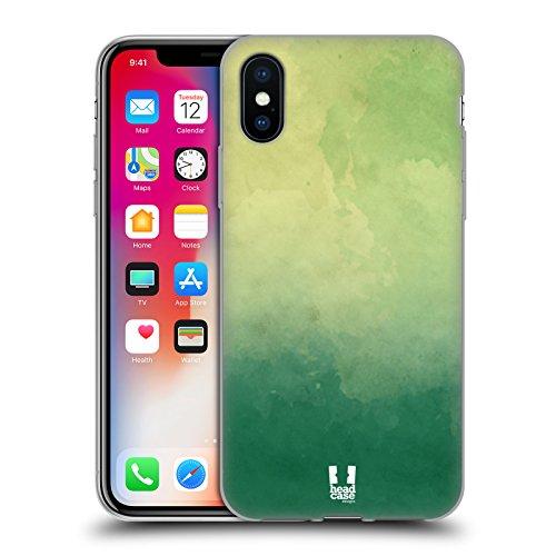 Head Case Designs Rosa E Giallo Aquarello Sfumato Cover Morbida In Gel Per Apple iPhone X Verde