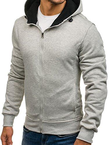 BOLF Herren Sweatshirt mit Kapuze Reißverschluss Pullover Basic sportlicher Stil Mix 1A1 Grau_AK18