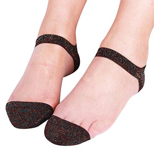 Zarupeng Spitzen Boot Söckchen, Damen Sommer Sheer Glitter Transparente Mesh Kurze Strümpfe Unsichtbar Kurzsocken Sneaker Ballerina Socken (One Size, I) -