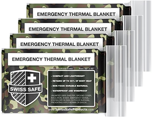 Swiss Safe Thermo-Decken für Notfall, Mylar, 4 Stück, mit Goldfolie, für NASA, Outdoor, Wandern, Survival, Marathons oder Erste Hilfe, Woodlang/Camouflage