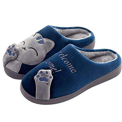 Minbei Womens Slippers Hard Sole Winter Comfy Warm Cotton Slipper Indoor Faux Fur Shoes for Girls Ladies