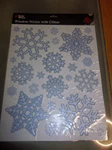 Christmas Window Snowflake Stickers With Glitter