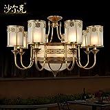 KMDJ Typ 8 kurze Europäischen Kupfer Leuchte schlafzimmer wohnzimmer Lampe Deckenleuchte American Restaurant reines Kupfer Löten light 860*500mm