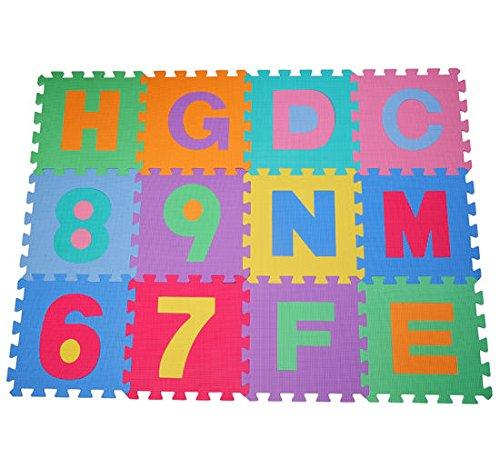 Alfombra puzle 192x192 cm Niños 3 años 36 piezas Numeros 0 al 9 y 26 Letras Alfabeto Goma Espuma