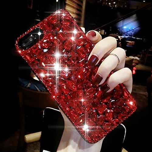 Povono Felfy Kompatibel mit Schutzhülle iPhone 5S / SE / 5 Hülle Glitzer Rot Luxus Bling Glänzend Glitzer Sparkles 3D Diamant Strass Full Body Ultra Dünn Gel Weiche Silikon Crystal Cover Case (Iphone Diamant Case Bling 5)