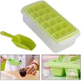 HOME CUBE® 18 Big Cubes Plastic Ice Tray With Storage Box + Spoon (Shovel) + Transparent Cover Lid (Random Colors)