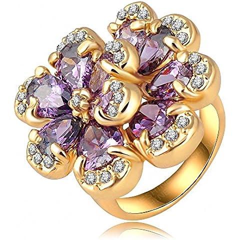 AnaZoz Joyería de Moda Anillos de Mujer 18K Chapado en Oro Anillo de Flor Púrpura Cristal Austria 22*24mm