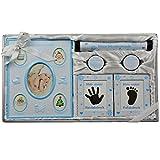 Geschenk zur Geburt und Taufe Junge & Mädchen Geschenkset Geschenkidee für Geburtsurkunde mit Bilderrahmen Fuß-und Handabdruck (blau)