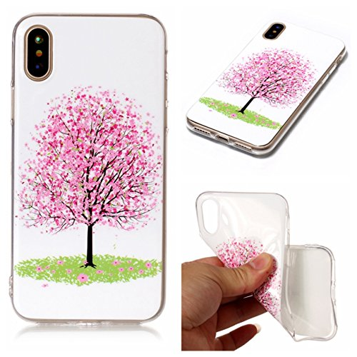 iPhone X Hülle, Voguecase Silikon Schutzhülle / Case / Cover / Hülle / TPU Gel Skin für Apple iPhone X(Armbanduhr) + Gratis Universal Eingabestift Kirschblüten 03