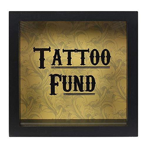 """Alcancía de vidrio con marco de madera y palabras en inglés """"Tattoo Fund"""""""