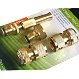 Tech Traders - Juego de conectores rápidos y boquilla de pulverización para manguera y grifo de jardín, latón, 4 piezas