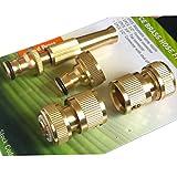 Tech Traders® Schlauchverschraubungsset aus Messing, Schnellverbinder für Garten-Wasserschlauch und Spritzdüse, 4 Stück