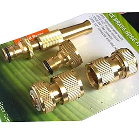 Tech Traders ® 4 Pcs Brass Hose Pipe Fitting Set/ Garden Tap Hosepipe Quick Connectors & spray nozzle