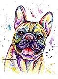 Französische Bulldogge Kunstdruck, Bull Dog Gemälde Kunstdruck Geburtstag Artwork–A6, A5, A4Größen–montagevarianten verfügbar, weiß, A5 Print Only - 4 x 7