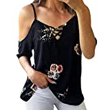 Frauen Damen Floral Schulterfrei T-Shirt Kurzarm Casual Tops Bluse