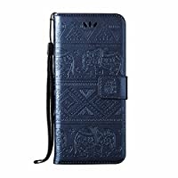 Galaxy s8 Wallet case [Free Tempered Glass Screen Protector], esstore Retro Elephant pu Leather Protective Covers with Card Slot Holder Wallet case for Samsung Galaxy s8, Blue