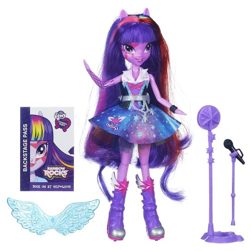 My Little Pony Spielzeug–Equestria Girls–Rainbow Rocks–Singen Twilight Sparkle Deluxe Fashion Puppe (Sparkle Mikrofon)