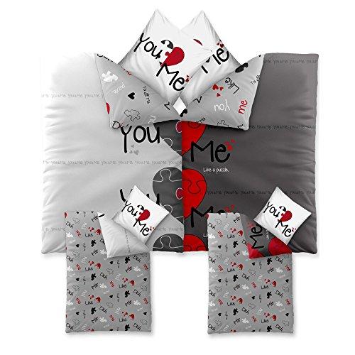 4-tlg. Bettwäsche-SET | verschiedene Größen | 4-Jahreszeiten Baumwolle Renforcé OEKO-TEX | 4-teiliges SET 155 x 220 cm | CelinaTex 5000415 Fashion 4 teilig Du & Ich Weiß Grau Rot Herz Wende-Design