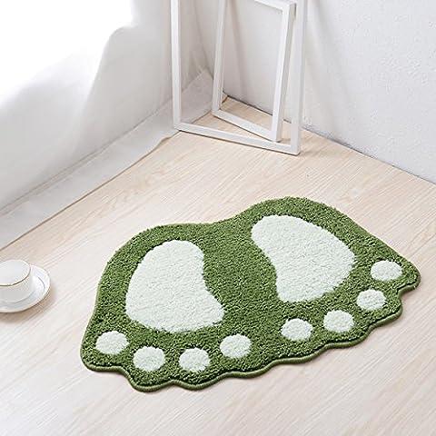 HAPLY Big Feet Bath Toilet Mat Area Rugs Carpet Doormat Floor Mat Absorbent Mats Bathroom Rugs Bedroom Living Room Kitchen Foot Pad Rug-(Green,16