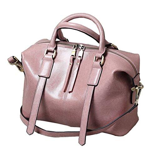 Borsa Shopping Bag In Pelle A Olio Retro Cerata Donna Retrò Borsa A Tracolla Da Donna Borsa A Mano Messenger Bag Pink