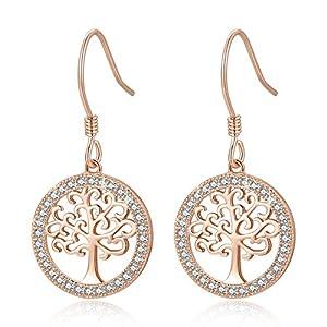 MEGA CREATIVE JEWELRY Damen Ohrringe Lebensbaum aus 925 Sterling Silber mit Kristallen von Swarovski