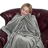softan Flannel Blanket Non Shedding Fleece Blanket Lightweight Fuzzy Soft Plus Throw Blanket fit Couch Bed Camping, Grey 50 * 60IN