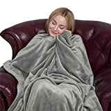 softan Flannel Fleece Blanket Luxury Solid Velvet for Bed Couch Sofa, Grey Queen Size Blankets
