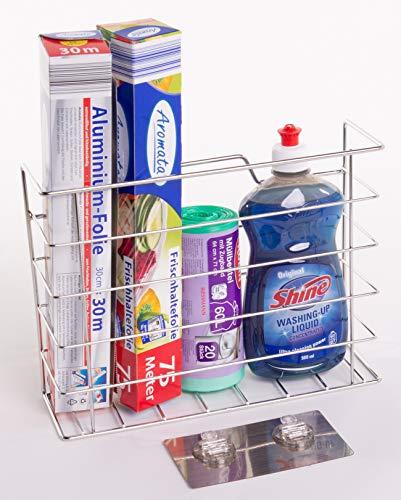 Beau support de papier de cuisine – Organiseur de rangement parfait pour le papier aluminium, les éponges et le papier plastique. Pas besoin de percer ou de vis.