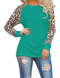Women Autumn Leopard Print Long Sleeve Colorblack T Shirt Tunic Top Tee