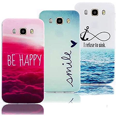 Vandot Set 3 in 1 Composto Custodia in Morbida TPU Silicone per Smartphone Samsung Galaxy A5 2016 Ultra Sottile Colorful Dipinto Pattern Shell Case Cover - Be Happy/ Smile/ I Refuse