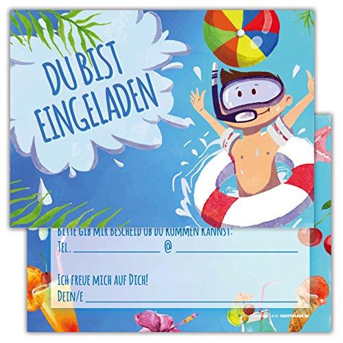 skarten Set Kindergeburtstag Motiv Pool Schwimmbad Schwimmen Party Einladung Geburtstag Junge Mädchen Kinder (Meerjungfrau Katze Kostüm)