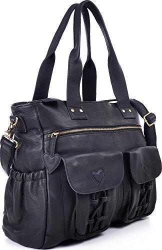 PHIL+SOPHIE, Cntmp, Damen XL Leder Wickeltaschen, Diaper Bags, Babytaschen, Buggy-Taschen, Leder Taschen, Schwarz, 40x35x11cm (B x H x T) Schwarz