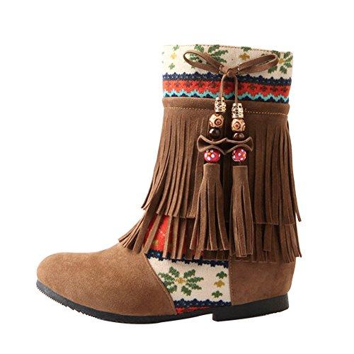 Frestepvie Damen Boots Quasten Flach Ferse Winter Herbst Elegant Frauen Vintage Bohemian Fransen Stiefel