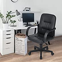 Navy Blue Furniture Silla giratoria de oficina para el escritorio, 5 ruedas giratorias, cómoda, ajustable, piel sintética, negro
