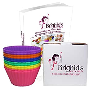 Brighid's Kitchen Reusable Silicone Baking Cups / Muffin Cups with eBook Cookbook and Product Guide, Set of 12 Cupcake Liners / Muffin Liners in Storage Box with 6 Vibrant Colors - Purple, Blue, Green, Yellow, Orange, Pink