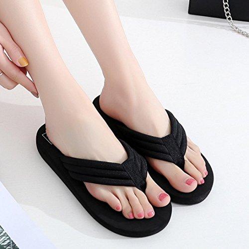 Femme Tongs, Clode® pour femmes dété Wedge Plat Chaussons Tongs Sandales Chaussures de plage pour Vacances, extérieur, intérieur, Black (Heel:3cm)