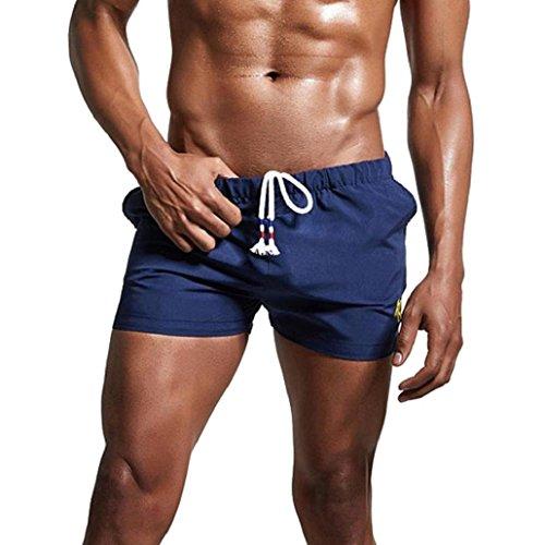 KPILP Herren Breathable Badehose Hosen Bademode Shorts Schlank Sportswear Bikini Badeanzug Boxer Boxershorts (Marine,XL)