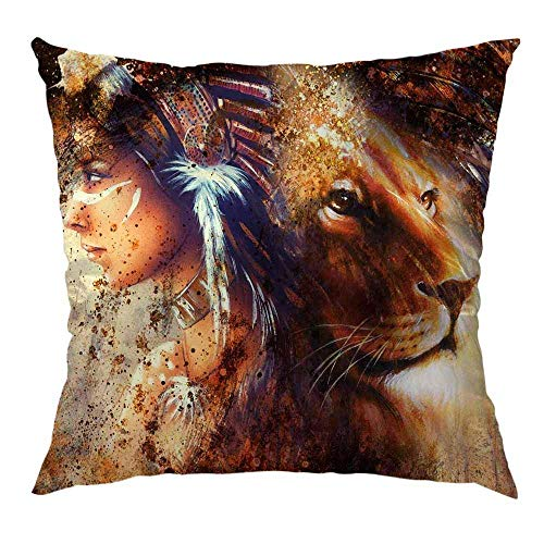 Hectwya African Women Pillow Cover,Woman with Lion Home Decorative Soft Satin Cushion Throw Pillow Cover Square Standard Pillow Case 18