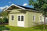 Gartenhaus GOTLAND C 70 + Schlafboden Blockhaus 440x595cm + 100cm Holzhaus 70mm