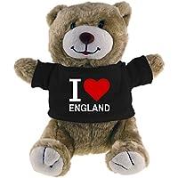 Multifanshop Kuscheltier Bär Classic I Love England beige - Lustig Witzig Sprüche Party Stofftier Püschtier