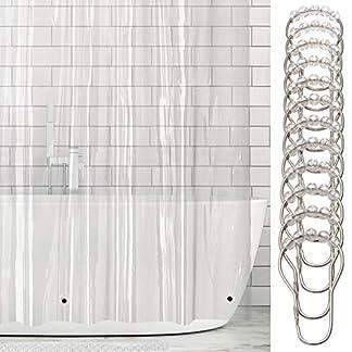 51CILdIR09L. SS324  - mDesign Cortinas de baño de vinilo - Cortina de baño extra larga con 12 aros para colgar incluidos - Cortinas de ducha y para bañera impermeables - 100% vinilo - 182,9 cm x 243,8 cm - transparente