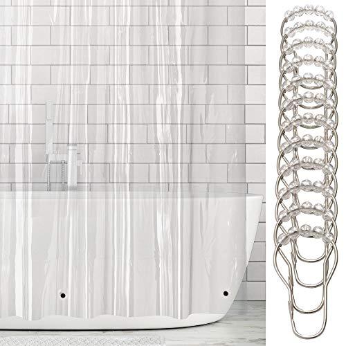 mDesign Vinyl Badewannenvorhang - wasserdichter Duschvorhang inkl. 12 Ringe - Langer Vorhang für Dusche und Badewanne - 100% Vinyl - transparent