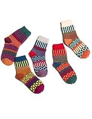 Ladies Girls Winter Warm Wool Chaussettes tricotées à la cheville Colorées à rayures 5 paires UK Taille 4-7