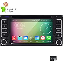 HIZPO Android 5.1 Lolipop Car Stereo 2Din In Dash Quad Core GPS DVD Player Navigation Radio support BT/SWC/Rear camera/Wifi/Subwoofer fit for TOYOTA